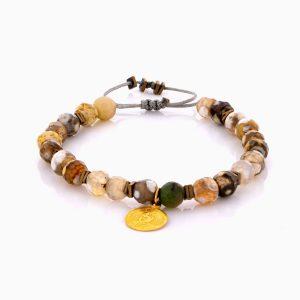 دستبند طلا 18 عیار دخترانه اسپرت با سنگ سنتتیک مدل سکه احمد شاهی کد BL0454