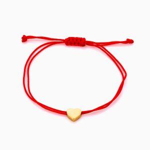 دستبند طلا 18 عیار دخترانه اسپرت طنابی مدل قلب کد BL0456