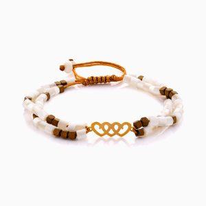 دستبند طلا 18 عیار دخترانه فانتزی با سنگ مرمر مدل سه قلب کد BL0458