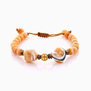 دستبند طلا 18 عیار دخترانه فانتزی با سنگ سنتتیک مدل گوی فیوژن کد BL0461